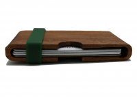 Slim Front Pocket Wood Wallet with Color Silicone Band