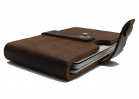 Slim Front Pocket Wood Wallet with Leather Band