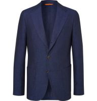Dark Navy Slim Fit Linen Casual Suits