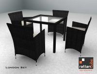 London Set table with 4 chairs and a rattan table with smoked glass