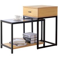 Lifewit 2-piece Nesting Side Accent Table Set with Drawer