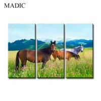 modern wall art home decoration 3 panel horse oil painting on canvas for living room decoration