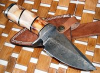 Custom Handmade Damascus Steel knife-Stained Bone Handle