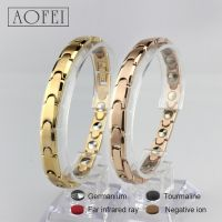 Fashion health gold and rose gold titanium germanium bracelet