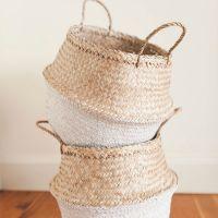 Color dipped bottom seagrass basket/ storage basket/ belly seagrass basket
