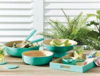 Salad Bowl, spun bamboo bowl, salad server set