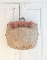 Pompom seagrass basket/ storage basket/ belly seagrass basket