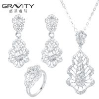 Custom stylish american diamond silver jewelry set with cz stone for women and ladies