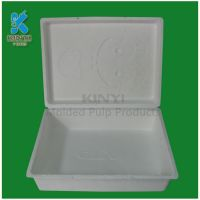 Recyclable material products with bagasse pulp molded apparel packaging boxes