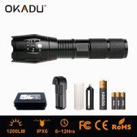 OKADU OK-ZT05 Rechargeable 18650 LED Flashlight 1200Lumen CREE XM-L T6 LED Tactical Flashlight Torch
