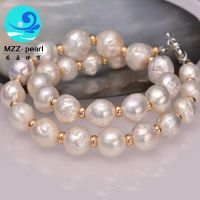 genuine baroque pearls large size 13-15mm natural white irregular pearl necklace