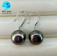 sterling silver 9-10mm original baroque black pearl earrings, tahitian saltwater pearls