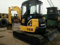 Used Mini Excavator komatsu PC55MR Mini Excavator Japan with swing boom and rubber pads