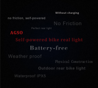 2017 new design self-powered waterproof CE ROHS bicycle rear light