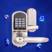 Smartphone Bluetooth Door Lock with Combination Satin Chrome Bluetooth-enabled APP, Code Smart Entry Keyless Lock handle door locks