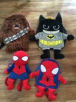 Starwars Marvel Disney Chewbacca Spiderman Plush Embroidery Velboa Backpack