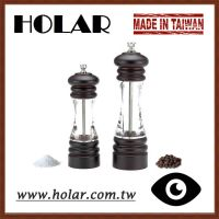 [Holar] Taiwan Made Clear Body Wooden Salt and Pepper Grinder Set