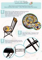 Hand Painted Mosaic Top Metal Patio Garden Folding Furniture Sets