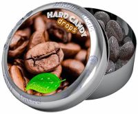 Jardin Riche natural coffee flavoured hard candy drops in tin with magnet