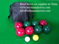 Supply 90mm resin bocce set lawn bowl 8 ball in red and green color
