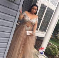 Plus Size Custom Made Long Sleeve Champange Beading Prom Evening Dress ItemNe0010