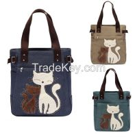 China supplier  new design cut cat canvas hand carry ladies hand bag