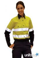 AIW Ladies HiVis Cool-Breeze Twill Safety Shirts- Mining Work Wear