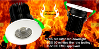 IP65 Fire rated led downlight SGS 90 minites fire rated testing TUV CE EMC Approved