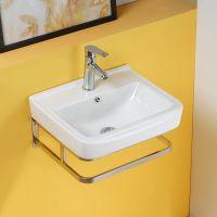 18 inch ceramic bathroom wall hung basin with holder