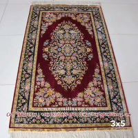 3x5 Red Handmade Kashmir Silk Rugs Carpets
