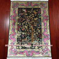 2x3 Small Persian Silk Rug Scenic Wall Hanging Tapestry