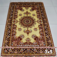 3x5 Traditional Carpet Oriental Handmade Hand Knotted Silk Persian Rug