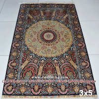 3x5 Bedroom Hand Knotted Iranian Silk Carpet Iran Rug Traditional Persian Qum Qom Design