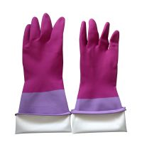 """14"""" 90g Rose pink-Light Purple Bicolor Flocklined  Household Anti-microbial glove"""