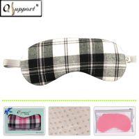 Qsupport Black/Gray Grid Sleep Eye Maks with Elastic Strip-Perfect for nap, travel sleep