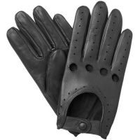 Men's Leather Driving Gloves Genuine soft Lambskin Chauffeur Black