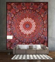 Indian star brown mandala cotton wall tapestry