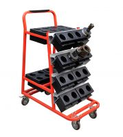 SanJi-First  CNC Tool Storage Trolley, Configured 32PCS BT50 Cutter Boxes, Blue+Gray+ Red, Bearing A      Color optional, Can be customized