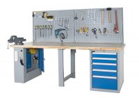 SanJi-First Standard Workbench 50mm(1.97in) Finger-Joined Wooden Desktop,Blue+Gray+ Red Bearing A�tabletop optional,Can be customized�