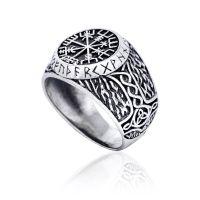 925 Sterling Silver Viking Vegvisir Runes Futhark Thor Hammer Mjolnir Ring