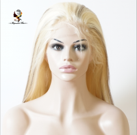 "Stock blonde100 brazilian human hair virgin hair full lace wigs colour 613 and colour 4 streak wig in 20"" full lace wig"