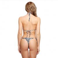 I-Glam Sexy Zebra Stripe Triangle Top Brazilian Bikini Thong Bottom Swimwear