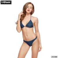 I-Glam Grey & Blue Sexy Women Brazilian Bikini Swimwear