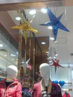 The shape of star and diamond hanging decorations of the ceiling, party suppliers, kid's favorite