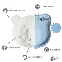 Orthopedic Flat Head Baby Pillow w 2 Removable Covers Toddler Care Cushion Blue