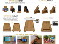 Yisen Handcrafted Natural Bamboo Universal Foldable Multi-angle Holder stand for Cell phone or tablet