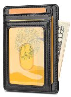 Slim Minimalist Front Pocket Wallet - Card Holder. Small Wallet for Front or Back Pocket Wear. Thin wallet suits both for men, women Black