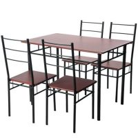 Harper&Bright Designs 5-piece Wood and Metal Dining Set Table and 4 Chairs, Multiple Finishes