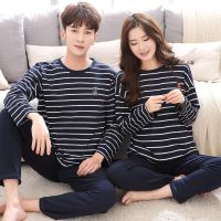 Lovers pajamas in autumn long sleeved cotton Korean version of simple striped men's suit