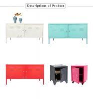 Living room furniture Red white Pink black grey Modern Metal two doors steel TV Stands cabinet